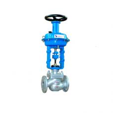 Клапан седельный, 25нж52нж25нж47нж, регулирующий, нерж. сталь, фланцевый, с пневмоприводом, PN 16-40
