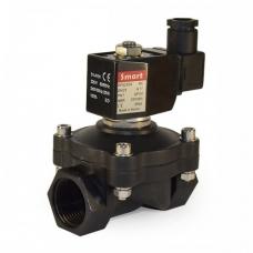 Клапан электромагнитный (соленоидный) нормально-закрытый, пластиковый, прямого действия, муфтовый, с катушкой, PN 10