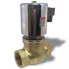 Клапан электромагнитный (соленоидный) нормально-закрытый, латунный, прямого действия, муфтовый, с катушкой, на пар, PN 10