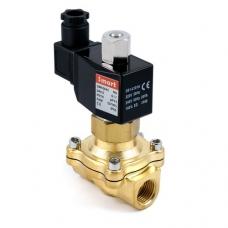 Клапан электромагнитный (соленоидный) нормально-закрытый, латунный, пилотного действия, муфтовый, с катушкой, PN 16