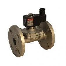 Клапан электромагнитный (соленоидный) нормально-закрытый, латунный, пилотного действия, фланцевый, с катушкой, PN 25