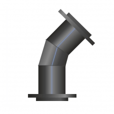 Отвод ПЭ сварной фланцевый 46-60°